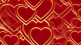 100 flying love hearts, wedding animation, valentines day, alpha matte. 100 flying love hearts, wedding background animation, happy valentine's day, red gold stock video footage