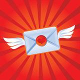 Flying love message. Vector illustration Royalty Free Stock Photos