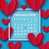 Flying Love Red Hearts in paper cut style. Calendar 2018 year. Origami Happy Valentine`s day. Romantic Holidays. All you vector illustration