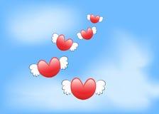 Flying love's heart Stock Photo