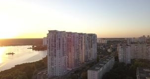 Flying low over downtown with cityscape sunset views. 4k 4096 x 2160 pixels stock footage
