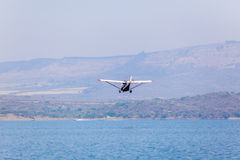 Flying Low Plane Waters Stock Photography