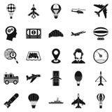 Flying machine icons set, simple style. Flying machine icons set. Simple set of 25 flying machine vector icons for web isolated on white background Stock Photos