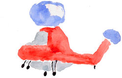 Flying Machine red on white background, watercolor. child drawin Stock Photography