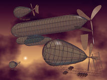 Flying machines. 3D model of fantasy flying machines Stock Image