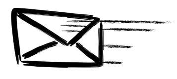 Flying mail. An illustrated envelope symbolizing fast communication Stock Images