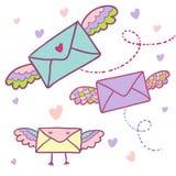 Flying mail. Symbol - cartoon envelopes Royalty Free Stock Photography
