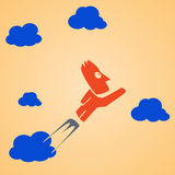 Flying man clouds Stock Photography