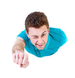 Flying man front view. Stock Photo