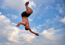 Flying man over beautiful sky Royalty Free Stock Image