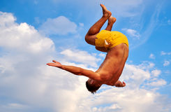 Flying man over beautiful sky Royalty Free Stock Photography