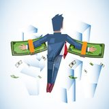Flying man with stack of money in his hand. money wing. vector illustration