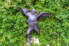 The flying man. TBILISI, GEORGIA - MAY 28, 2016: The unusual flying statue of Sergei Parajanov, famous avant garde filmmaker and artist, on May 28 in Tbilisi Stock Photos