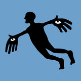 Flying man (vector) Stock Photography