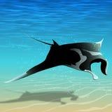 Flying manta ray. Manta ray flying over the seabed vector illustration