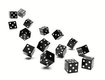 Flying many dice Stock Images