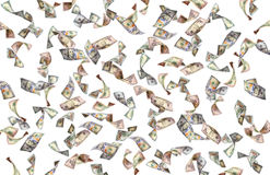 Flying many dollars banknote Stock Photography