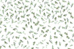 Flying many 100 euro bills. On white background vector illustration