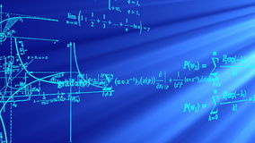 Flying mathematical formulas and graphs. Stock Image