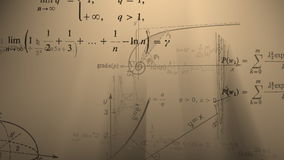 Flying mathematical formulas and graphs. Loopable. stock footage