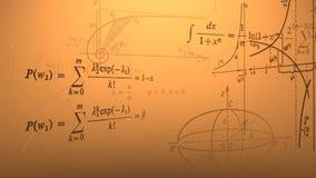 Flying mathematical formulas and graphs. Loopable. royalty free illustration