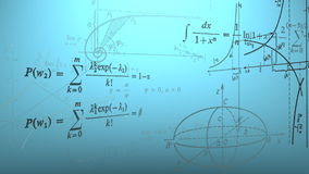 Flying mathematical formulas and graphs. Loopable. stock video
