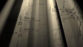 Flying mathematical formulas and graphs. Loopable.