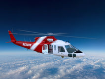 Flying Medical Rescue Helicopter Illustration Royalty Free Stock Photography