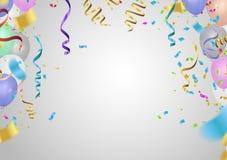 Flying Mega Set of colorful, shiny, holiday balloons isolated. P stock illustration
