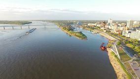 Flying in Memphis, Tennessee. Mississippi River and Business district in Background