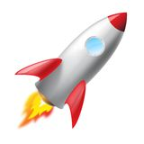 Flying metal rocket. Isoated, vector icon, 3D vector illustration