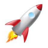 Flying metal rocket Stock Photography