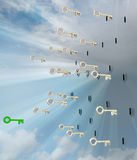 Flying metallic keys with green one in sky Royalty Free Stock Image