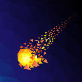 Flying meteorite in space. Blue background printing mosaic vector illustration of Eps10 Royalty Free Stock Photography