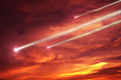 Flying meteors Stock Photography