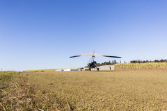 Flying Microlight Aircraft Landing Stock Images