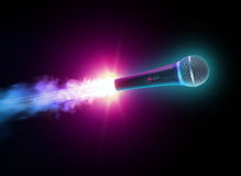 Flying microphone. On black background stock images