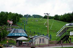 Flying Mile Ski Lift in Summer. The deserted ski lift at Mont Tremblant in the summer Stock Photography