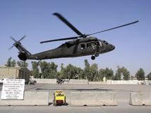 Flying military transport helicopter special for war soldier stock photography