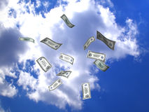 Flying money. American dollars flying in the sky, 3d illustration Stock Photography