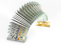 Flying money. 3D cash back concept. Royalty Free Stock Photo