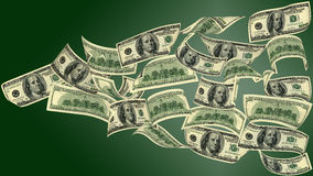 Flying money. 100 dollar bills, flying on green background. The image of very big resolution Stock Photo