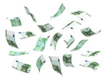 Flying Money (Euro). Flying Money ( with clipping path Royalty Free Illustration