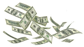 Flying money isolated on a white background. 3d illustration Royalty Free Stock Image