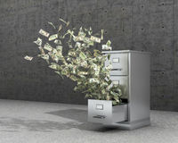 Flying money from a locker to store documents. The cabinet for archives stands on a concrete floor near concrete panels. 3d illust Stock Photo