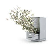 Flying money from a locker to store documents Stock Image