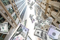 Flying money NYC. Conceptual piece showing money flying down in NYC Royalty Free Stock Photos