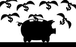 Flying money. Vector / illustration of a piggy bank and flying dollars Stock Photo