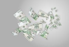Flying moneys 100 PLN bills Royalty Free Stock Photography