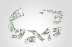 Flying moneys 100 PLN bills Royalty Free Stock Images